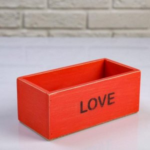 """Кашпо деревянное 20?10?8 см """"Элегант, LOVE"""", красное"""