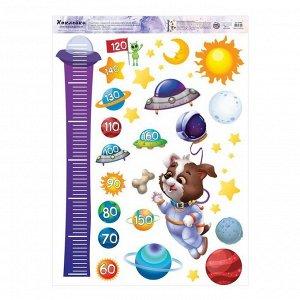 Наклейка виниловая «Космический пес». ростометр. 50 х 70 см