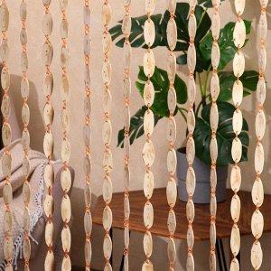 """Эко-занавеска деревянная """"Спилы"""". 180 х 80 см. спил сосны"""