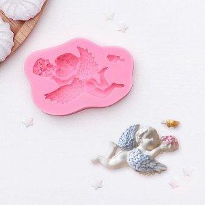 Молд силиконовый «Ангел с букетом», 9,3?6?1,9 см, цвет МИКС