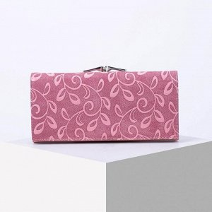 Кошелёк женский, 3 отдела на магните, 2 отдела на фермуаре, цвет розовый 6491256