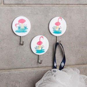 Набор крючков на липучке «Фламинго», 3 шт, рисунок МИКС