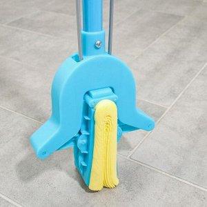 Швабра PVA со складным отжимом Доляна, телескопическая ручка 102-120 см, насадка 27?6 см, цвет МИКС
