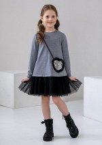 Платье трикотажное с отделкой из мягкой сетки серое
