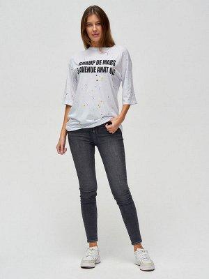 Женские футболки с надписями белого цвета 76029Bl