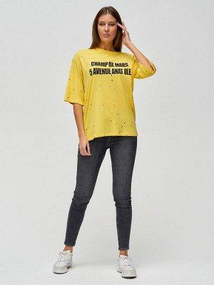 Женские футболки с надписями желтого цвета 76029J