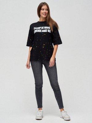 Женские футболки с надписями черного цвета 76029Ch