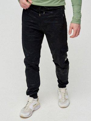 Трикотажные брюки мужские черного цвета 3201Ch