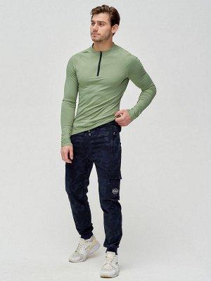 Трикотажные брюки мужские темно-синего цвета 3201TS
