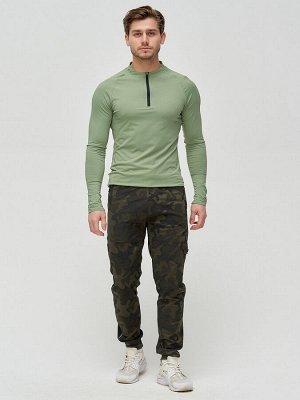 Трикотажные брюки мужские хаки цвета 3201Kh