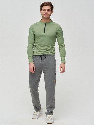 Трикотажные брюки мужские темно-серого цвета 2226TC