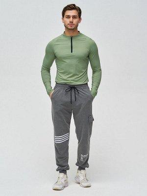 Трикотажные брюки мужские темно-серого цвета 2269TC