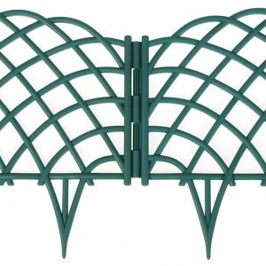 Ограждение декоративное, 34 ? 270 см, 6 секций, пластик, зелёное, «Диадема»