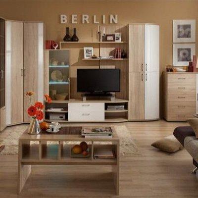 Классический и современный стиль. Мебель для каждого! — Гостиная BERLIN (Дуб сонома-Белый глянец) — Спальня и гостиная