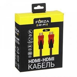 С FORZA Кабель HDMI-HDMI 1, 4, 10, 2 Гбит/с, 5м, медь, пластик