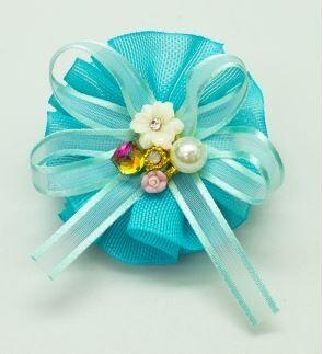 Восхитительная заколка-зажим для девочек, в центре украшена бусинкой, стразами и цветочками