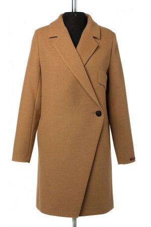 01-10441 Пальто женское демисезонное Пальтовая ткань Кэмел