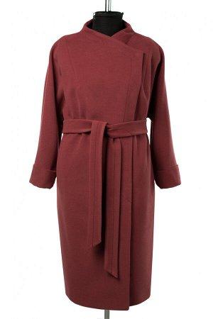 01-10430 Пальто женское демисезонное Пальтовая ткань сухая малина