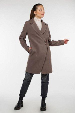 01-09432 Пальто женское демисезонное Пальтовая ткань кофе