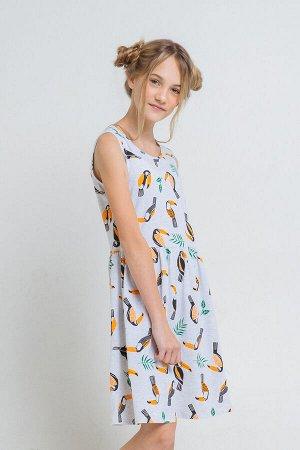 Платье(Весна-Лето)+girls (св.серый меланж, туканы к43)