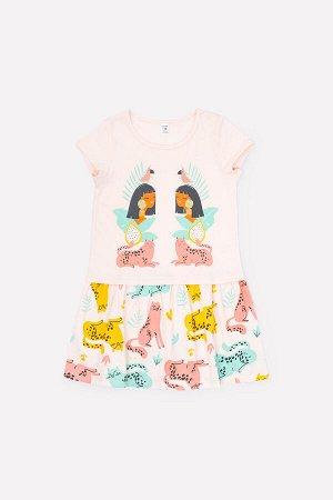 Платье(Весна-Лето)+girls (бледно-персиковый, леопарды к1262)