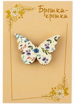 """Значок деревянный """"Бабочка"""", белый фон, мелкие цветы"""