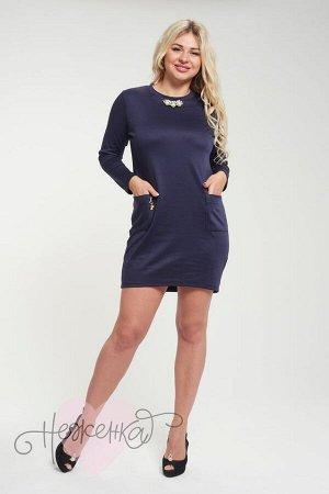 Платье П 492 (темно-синий)