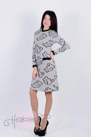 Платье П 620 (серый с принтом)