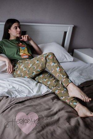 Женская пижама ЖП 039 (принт сова с гнездом) 🌀