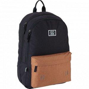 Рюкзак GoPack Сity 140-2 черный, горчичный