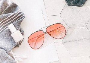 Женские поляризованные солнцезащитные очки в защитном чехле, черно-красная оправа,  белые заушники, розовые линзы