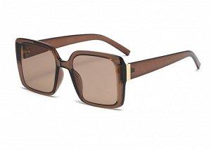 Женские поляризованные солнцезащитные очки в защитном чехле, прозрачная коричневая оправа,  коричневые дужки