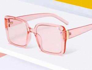 Женские поляризованные солнцезащитные очки в защитном чехле, прозрачная розовая оправа,  розовые дужки