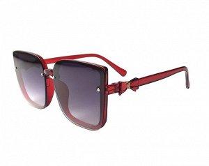 Женские  солнцезащитные очки в защитном чехле,  красная оправа,  красные дужки с декоративным бантиком