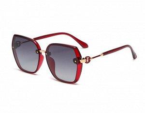Женские солнцезащитные поляризованные очки в защитном чехле,  красная оправа,  красные дужки с декоративным элементом