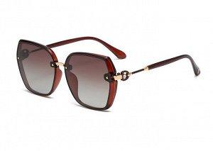Женские солнцезащитные поляризованные очки в защитном чехле,  коричнево-красная оправа,  кричнево-красные дужки с декоративным элементом