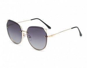 Женские солнцезащитные поляризованные очки в защитном чехле, черно-срые линзы, золотая  оправа с кончиками в виде ушек,  золотые дужки, черные заушники