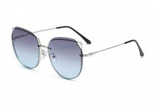 Женские солнцезащитные поляризованные очки в защитном чехле, синии линзы,  серебристая оправа с кончиками в виде ушек,  серебристые дужки, черные заушники