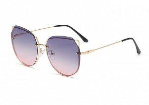 Женские солнцезащитные поляризованные очки в защитном чехле, синевато-розовые линзы,  золотистая оправа с кончиками в виде ушек,  золотистые дужки, черные заушники