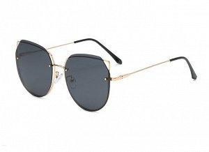 Женские солнцезащитные поляризованные очки в защитном чехле, черные линзы,  золотистая оправа с кончиками в виде ушек,  золотистые дужки, черные заушники
