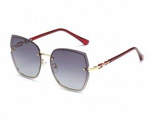 Женские солнцезащитные поляризованные очки в защитном чехле, темно-серый градиент линзы,  золотистая оправа,  золотистые дужки в виде звеньев цепи, темно-красные заушники