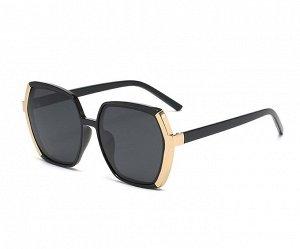 Женские солнцезащитные поляризованные очки в защитном чехле, черная оправа с золотым элементом сбоку,  черные дужки