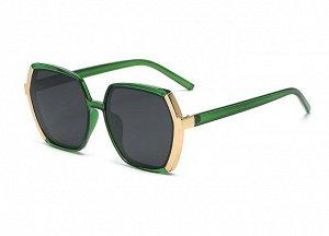 Женские солнцезащитные поляризованные очки в защитном чехле, зеленая оправа с золотым элементом сбоку,  зеленые дужки