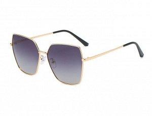 Женские солнцезащитные очки с поляризацией в защитном чехле, золотая оправа, тонкие золотые дужки