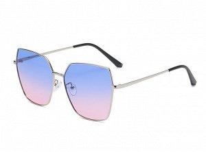Женские солнцезащитные очки с поляризацией в защитном чехле, серебристая оправа, тонкие серебристые дужки
