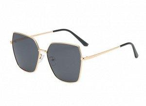 Женские солнцезащитные очки с поляризацией в защитном чехле, золотая оправа, тонкие золотые дужки ,черные заушники