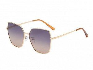 Женские солнцезащитные очки с поляризацией в защитном чехле, золотая оправа, тонкие золотые дужки, оранжевые заушники