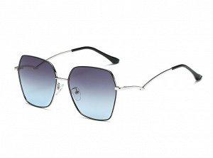 Женские солнцезащитные очки с поляризацией в защитном чехле, серебристая оправа, необычные серебристые дужки