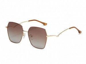 Женские солнцезащитные очки с поляризацией в защитном чехле, золотистая оправа, необычные золотые дужки, оранжевые заушники
