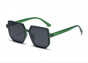 Женские солнцезащитные очки с поляризацией + защитный чехол, прозрачная зеленая оправа, прозрачные зеленые дужки